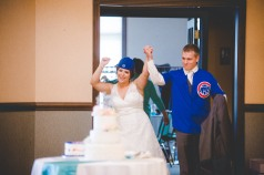 "Now that is a heck of an entrance, especially when ""GO CUBS GO"" is playing as they walk in."