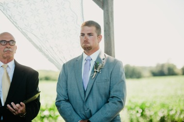 His face when seeing his bride